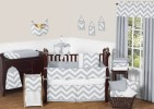 Gray and White Zig Zag Crib Set