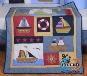 Geenny Sail Nautical Crib Set