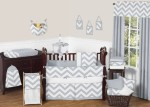 Gray and White Zig Zag Crib Set