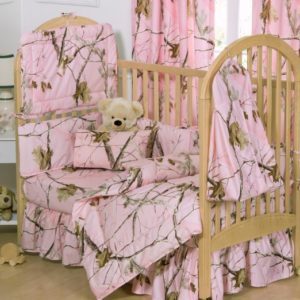 Pink Realtree Camo Crib Bed Set For Girls