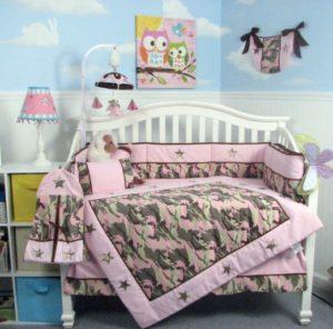 Pink Camo Crib Set